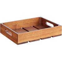 Tablecraft CRATE12 Half Size, 2 1/2 inch Deep Gastronorm Acacia Serving and Display Crate