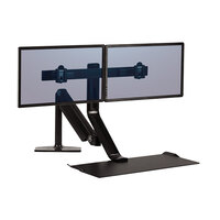Fellowes 0009801 Extend Black Dual Monitor Sit-Stand Workstation with Humanscale Technology - 25 5/8 inch x 41 5/8 inch