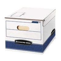 Bankers Box 0007101 12 inch x 15 inch x 10 inch White/Blue Letter/Legal Sized File Storage Box - 12/Case