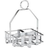 Tablecraft 606R Chrome Plated Salt and Pepper Shaker / Sugar Packet Rack - 4 1/4 inch x 4 inch x 6 inch