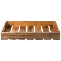 Tablecraft CRATE11 Gastronorm Acacia Wood Serving and Display Crate - 20 7/8 inch x 12 3/4 inch x 2 5/8 inch