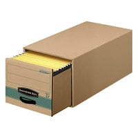 Bankers Box 1231101 25 1/2 inch x 14 inch x 11 1/2 inch Kraft / Green Letter Sized Heavy-Duty Corrugated Fiberboard Storage Drawer with Steel Frame - 6/Case