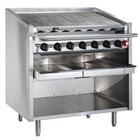MagiKitch'n FM-RMBSS-624 24 inch Liquid Propane Stainless Steel Radiant Charbroiler with Open Base - 60,000 BTU