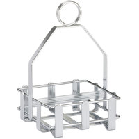 Tablecraft 602R Chrome Plated Double-Sided Condiment Rack - 4 1/8 inch x 4 1/8 inch x 6 inch