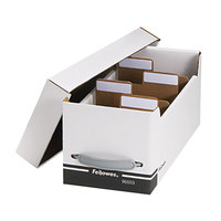 Fellowes 96503 6 3/4 inch x 15 inch x 6 1/4 inch White/Black Corrugated Media Storage Box with Dividers and Labels