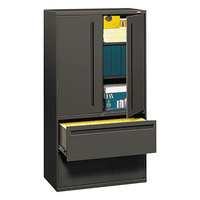 HON 785LSS 700 Series Charcoal Storage Cabinet with Two Lateral Filing Drawers - 36 inch x 19 1/4 inch x 67 inch