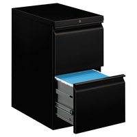 HON 33823RP Efficiencies Black Two-Drawer Mobile Pedestal Filing Cabinet - 15 inch x 22 7/8 inch x 28 inch