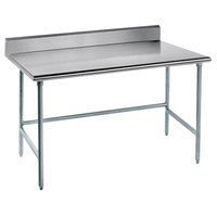 Advance Tabco TKLG-306 30 inch x 72 inch 14 Gauge Open Base Stainless Steel Commercial Work Table with 5 inch Backsplash