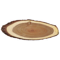 Tablecraft ACAV2008 Acacia Wood Oval Serving Board - 20 inch x 8 inch x 3/4 inch