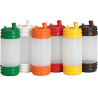 Tablecraft N32LPA PourMaster 1 Qt. Assorted Color Plastic Bottle with Low Profile Top and Cap - 12/Pack