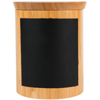 Tablecraft RCBR668 Write-On 6 inch x 8 inch Bamboo Round Polypropylene Lined Storage Container with Chalkboard