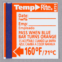 Taylor 8751 TempRite Single Use Dishwasher 160 Degrees F Test Label - 24/Pack