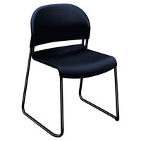 HON H4031 GuestStacker Regatta Blue Stackable Chair with Black Frame - 4/Case