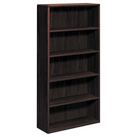 HON 10755NN 10700 Series Mahogany 5 Shelf Laminate Wood Bookcase - 36 inch x 13 1/8 inch x 71 inch