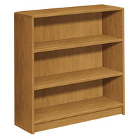 HON 1892C 1890 Series Harvest 3 Shelf Laminate Wood Bookcase - 36 inch x 11 1/2 inch x 36 1/8 inch