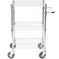 Regency 18 inch x 24 inch Three Shelf Chrome Utility Cart with U-Shaped Handle