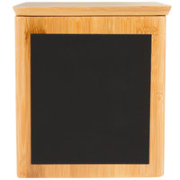 Tablecraft RCBS667 Write-On 6 inch x 6 inch x 7 inch Bamboo Square Polypropylene Lined Storage Container with Chalkboard