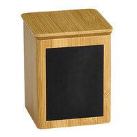 Tablecraft RCBS445 Write-On 4 inch x 4 inch x 5 1/2 inch Bamboo Square Polypropylene Lined Storage Container with Chalkboard