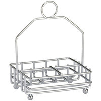 Tablecraft 593R Chrome Plated Salt and Pepper Shaker / Sugar Packet Rack - 4 3/4 inch x 4 1/4 inch x 6 1/8 inch