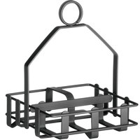 Tablecraft 609RBK Black Salt and Pepper Shaker / Sugar Packet Rack - 5 inch x 4 3/4 inch x 6 1/2 inch