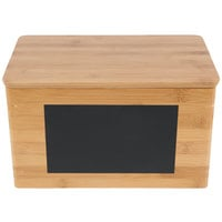 Tablecraft RCBS1387 Write-On 13 inch x 8 inch x 7 inch Bamboo Rectangular Storage Container with Chalkboard