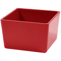 Tablecraft M4024R Contemporary Melamine Collection 32 oz. Red Straight Sided Bowl - 5 inch x 5 inch x 3 inch