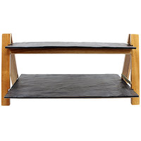 Tablecraft RMG2KITACA Frostone Acacia Two-Tiered Folding Riser Set - 23 inch x 8 inch x 11 1/2 inch