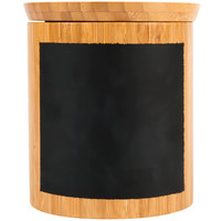 Tablecraft RCBR555 Write-On 5 inch x 5 inch Bamboo Round Polypropylene Lined Storage Container with Chalkboard