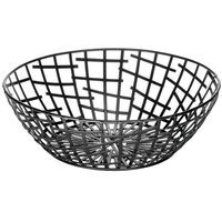 Tablecraft BC7510 Complexity Collection Black Powder Coated Metal Round Basket - 10 inch x 3 3/4 inch
