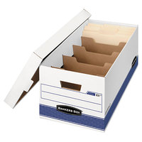 Fellowes 0083101 Banker's Box 12 inch x 24 inch x 10 inch Extra Strength Letter File Storage Box with Locking Lid - 12/Case