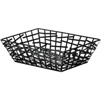 Tablecraft BC7209 Complexity Collection Black Powder Coated Metal Rectangular Basket - 9 inch x 6 1/4 inch x 2 1/2 inch