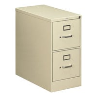 HON 212PL 210 Series Putty Full-Suspension Two-Drawer Filing Cabinet - 15 inch x 28 1/2 inch x 29 inch