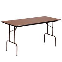 Correll Folding Table, 24 inch x 72 inch Melamine Top, Walnut - CF2472M01