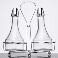 Tablecraft 608N Modern Sets 3 Piece Oil & Vinegar Cruet Set with Chrome Rack