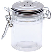 Tablecraft H15S&P 1.5 oz. Resealable Salt and Pepper Shaker Glass Jar with Stainless Steel Clip-Top Lid