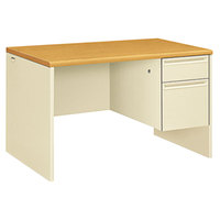 HON 38251CL 38000 Series 48 inch x 30 inch x 29 1/2 inch Harvest / Putty Metal 3/4 Height Right Pedestal Desk