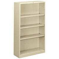 HON S60ABCL Putty 4 Shelf Metal Bookcase - 34 1/2 inch x 12 5/8 inch x 59 inch