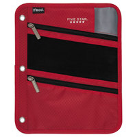 Mead MEA50642BE7 8 3/4 inch x 11 inch Red Pencil Pouch with Black Zippers
