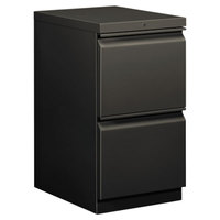 HON 33820RS Efficiencies Charcoal Two-Drawer Mobile Pedestal Filing Cabinet - 15 inch x 19 7/8 inch x 28 inch