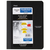 Five Star 09276 Black 9 3/4 inch x 7 1/2 inch 1 Subject Composition Notebook with Pockets - 100 Sheets