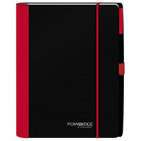 Cambridge 45238 Accents Black / Red 9 3/4 inch x 9 3/8 inch Legal Ruled Business Notebook - 100 Sheets
