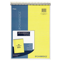 Cambridge 59880 8 1/2 inch x 11 inch Legal Rule Canary Wirebound Note Pad