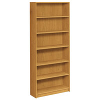 HON 1877C 1870 Series Harvest 6 Shelf Laminate Wood Bookcase - 36 inch x 11 1/2 inch x 84 inch