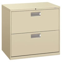 HON 672LL 600 Series Putty Two-Drawer Lateral Filing Cabinet - 30 inch x 19 1/4 inch x 28 3/8 inch