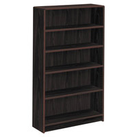 HON 1895N 1890 Series Mahogany 5 Shelf Laminate Wood Bookcase - 36 inch x 11 1/2 inch x 60 1/8 inch