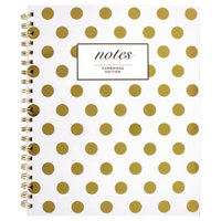 Cambridge 59016 Wirebound Hardcover Gold Polka Dots 9 1/2 inch x 7 1/4 inch Legal Ruled Notebook - 80 Sheets