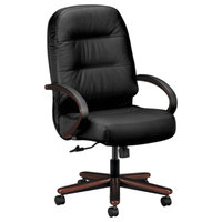 HON 2191NSR11 Pillow-Soft Mahogany/Black High Back Leather Executive Chair with Casters