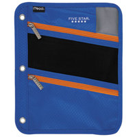 Mead MEA50642BC7 8 3/4 inch x 11 inch Cobalt Pencil Pouch with Orange Zippers