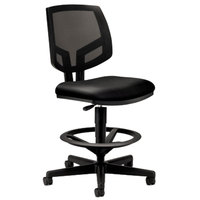 HON 5715SB11T Volt Series Black Mesh/Leather Adjustable Task Stool with Casters