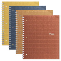 Mead 06594 Wirebound Assorted Color 11 inch x 8 1/2 inch College Ruled Recycled Notebook - 80 Sheets